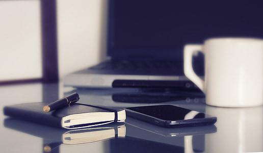 计算机, 笔记本电脑, 在工作场所, 咖啡, 咖啡杯, 钢笔, 笔记本