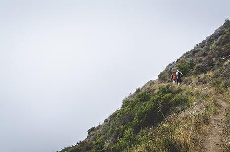 man, woman, walking, pathway, green, grasss, hiking