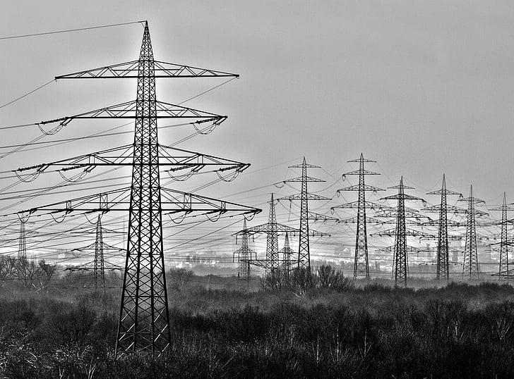 energia, praeguse, võimu poolakad, elektrienergia, kõrgepinge, torn, tugevdada