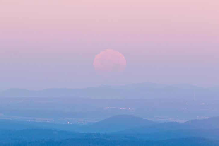 Luna, paisaje, amanecer, cielo, Estado de ánimo, moonset, cielos