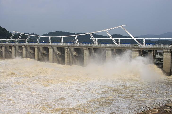 vuit per presa proveït, riu han, l'aigua, Dam, generació de combustible i la potència, Central hidroelèctrica, poder