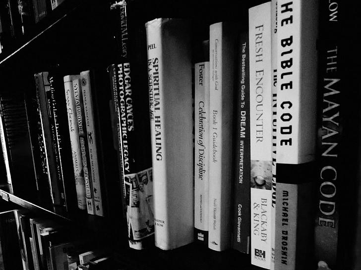 boeken, zwart-wit, literatuur