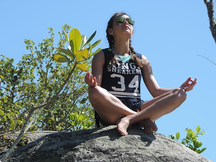 miera, joga, Meditācija, bērnu, ārpus telpām, daba, Sports