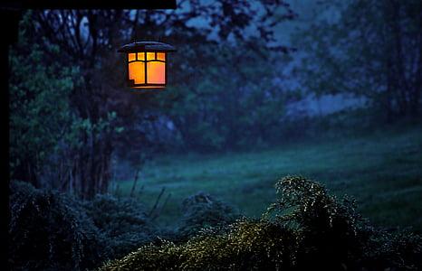 Twilight, erstatning lampe, lykt, kveld, lys, mørket, tåken