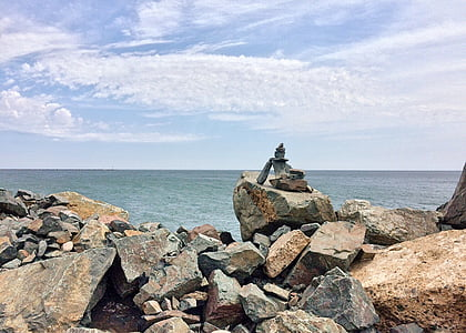 empilé, pierres, Rock, Balance, nature, rive, mer