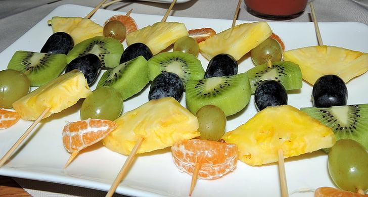 frugt, spyd, ananas, druer, Kiwi, orange, parabol