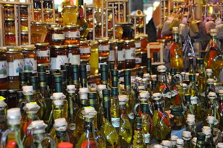bodegons, ampolles, mercat, mel, oli d'oliva