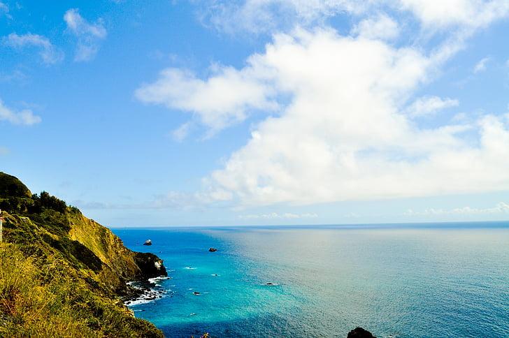 moln, kusten, Cal, natursköna, Ocean wave, Ocean, landskap