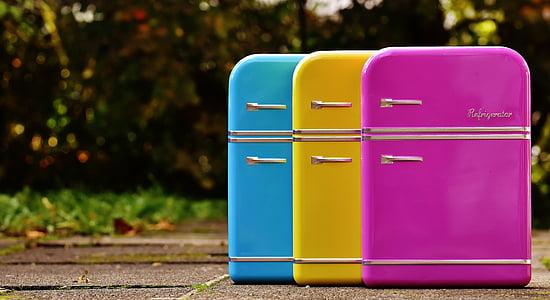 külmikud, purgid, Candy purgid, sinine, kollane, roosa, ladustamine