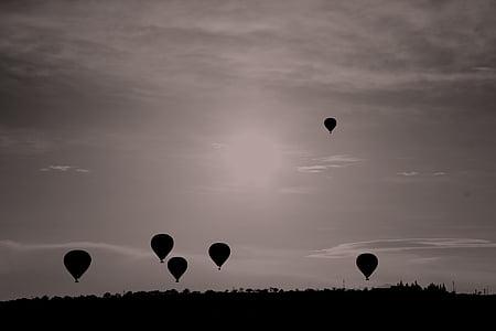 siluett, Foto, luft, ballonger, flygande, heta, Sky