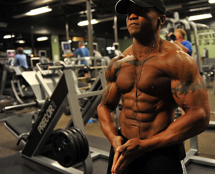 bodybuilder, poids, formation, stress, musculaire, athlète, salle de gym