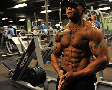 bodybuilder, vekt, trening, stress, muskel, idrettsutøver, treningsstudio