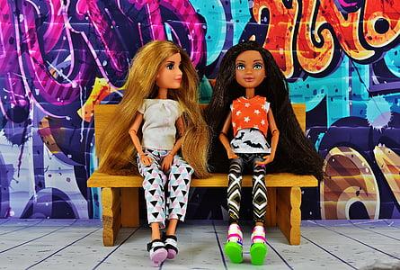 dievča, priatelia, priateľstvo, graffiti, banka, posedenie, spolu