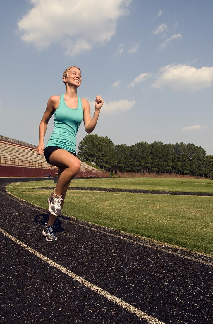 runner, training, high leg jogging, fit, athlete, fitness, woman