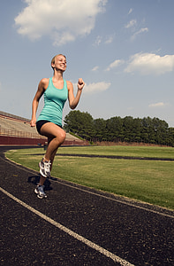 runner, training, high leg jogging, fit, athlete, fitness, woman