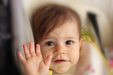 Retrat, nen, emoció, Hola, mà, nadó, valent