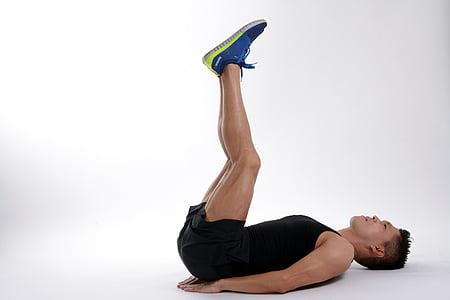 平衡, 身体, 锻炼, 适合, 健身, 男子, 人