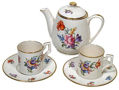 jogo de chá, disco voador, Copa, chá, conjunto, bebida, bule de chá