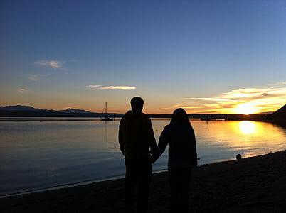 couple, beach, walking, holding hands, sunset, romance, outdoors