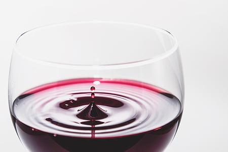 와인, 레드, 알코올, 유리, 드롭, 작은 물방울, 음료