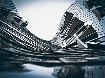 architecture, modern, skyscraper, building, düsseldorf, low angle shot, abstract
