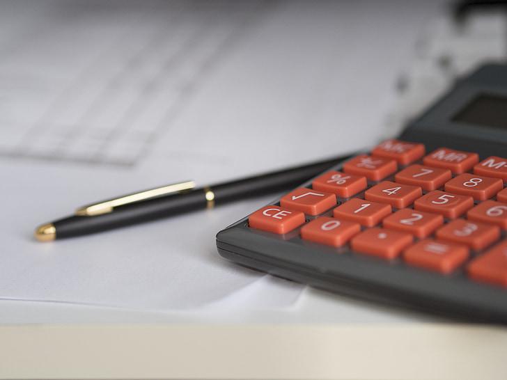 poslovni, Kalkulator, Izračun, osiguranje, financije, Računovodstvo, olovka