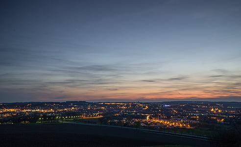 도시의 불빛, abendstimmung, 조명, 황혼, 스카이 라인