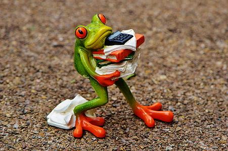 жаба, фигура, файлове, стека, файлове с наслагване, офис, декорация