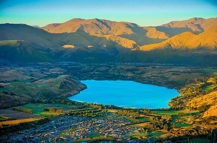 Куинстаун, Нова Зеландия, залез, Красив, лято, пейзаж, цветни