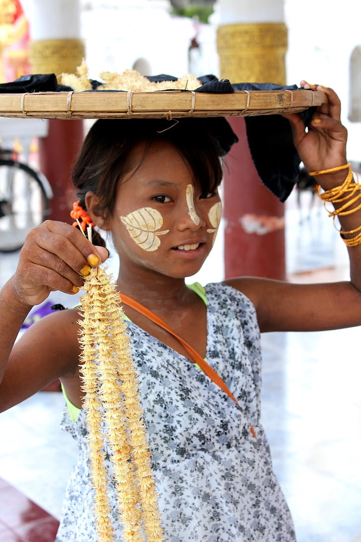 dievča, Barma, Mjanmarsko, dieťa, budhizmus, deti