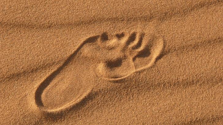pustinja, otisak stopala, stopala, pijesak