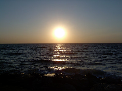 sol, Mar, horitzó, posta de sol, boira, nit, sol ponent