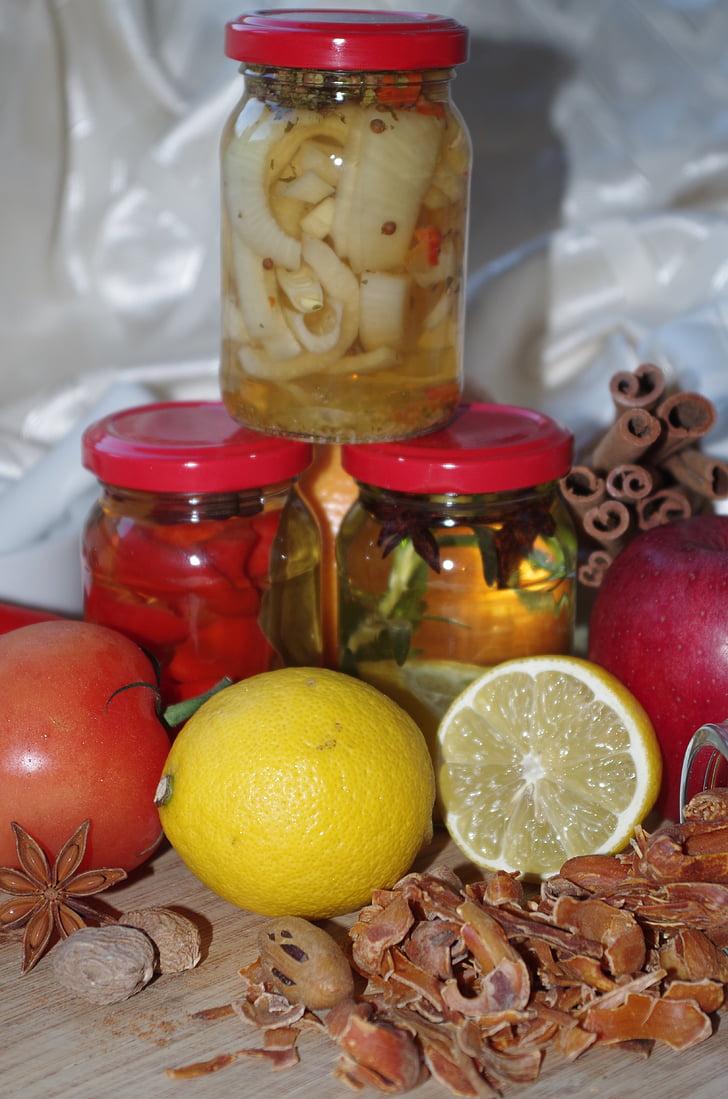 чашки, в пляшках, zaváraniny, перець, лимон, Булава, мускатний горіх