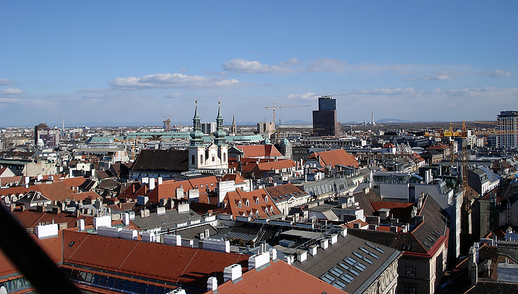 vienna, city, roofs, city view, view