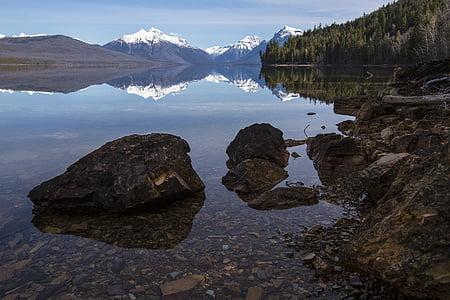 Llac mcdonald, roques, reflexió, calma, paisatge, escèniques, Parc