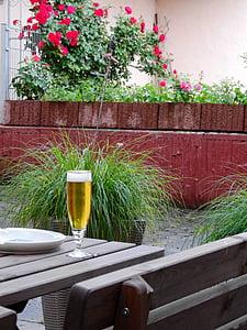 bier, bier tuin drankje, drankje, alcohol, verfrissing, dorst, Bierglas