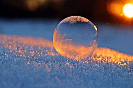soap bubble, afterglow, snow, winter, frozen bubble, frozen, sunset