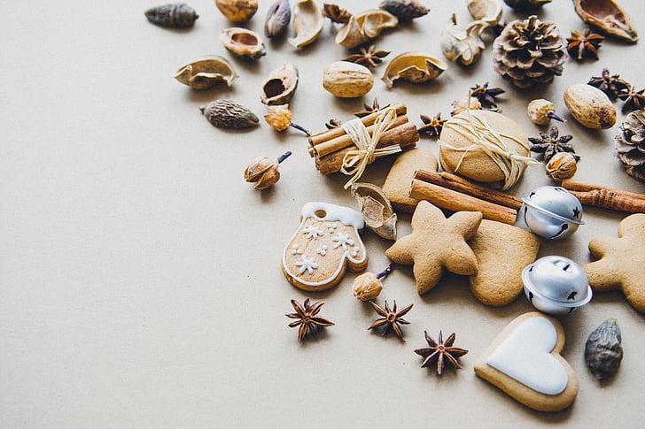 anyż, aromatyczne, Boże Narodzenie, cynamon, pliki cookie, sucha, jedzenie