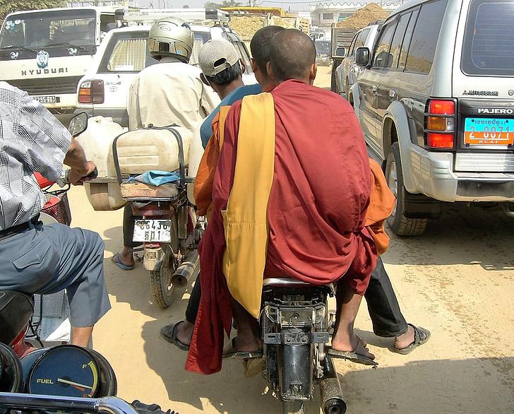 transporte, ciclomotor, monje, atasco de tráfico, Laos