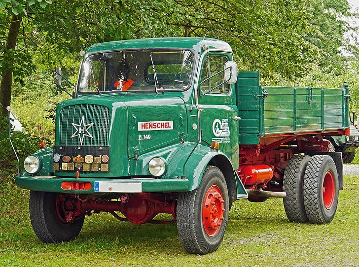 Henschel, camión, volquete de, toda la impulsión de la rueda, históricamente, Oldtimer, restaurado