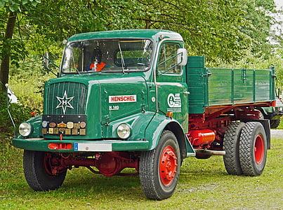 Henschel, camió, basculants, tot tracció, Històricament, Oldtimer, restaurat