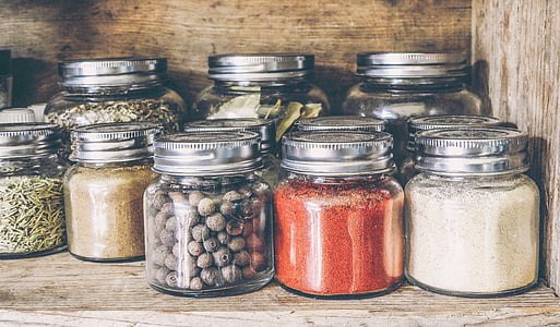 подправки, Стелаж, буркан, кухня, готвене, дървени, пипер