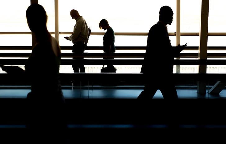people, walking, airport, gate, catching, plane, airplane