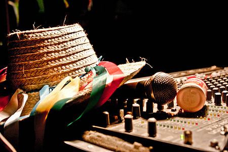 kultūra, mikrofons, skaņu, cepure, gaisma, mūzika, stūris