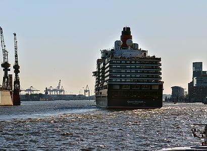 kryssningsfartyg, drottning elisabeth, fartyg, Elbe, Hamburg, hamn, vatten
