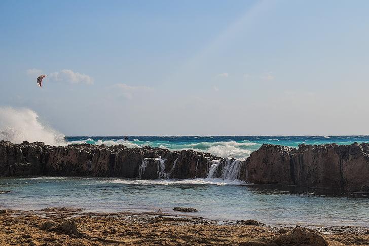hullám, összetörő, sziklás part, víz, természet, tenger, Beach