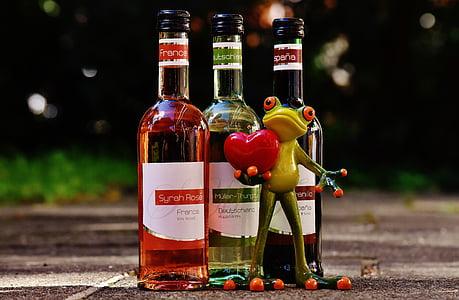 katak, Cinta, merayakan, anggur, minuman, Restoran, Weinstube