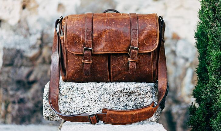 bag, classic, leather, messenger bag, old, rock, vintage