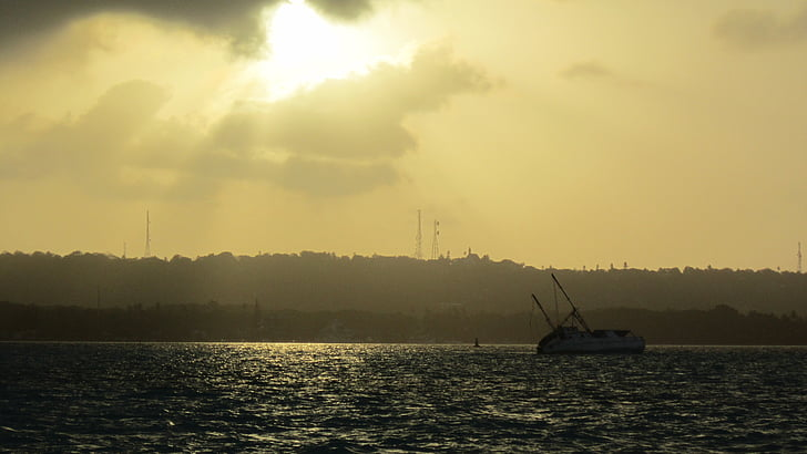 mar, barco, oceano, Horizon, paisagem, água, Calma