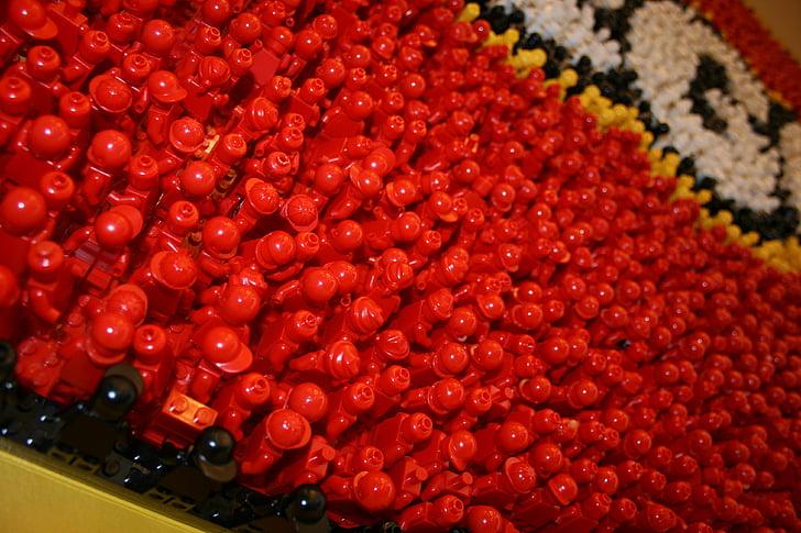 Lego, vermell, joguines, homes, edificis